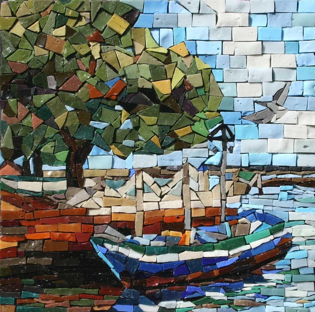 Boat on Water Mosaic Artwork