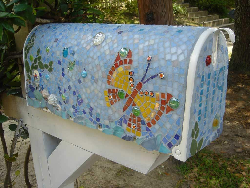 Butterfly Mailbox Mosaic Art Commission