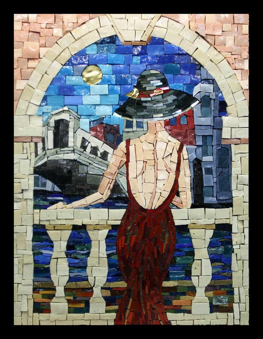 Lady in Window Mosaic Artwork