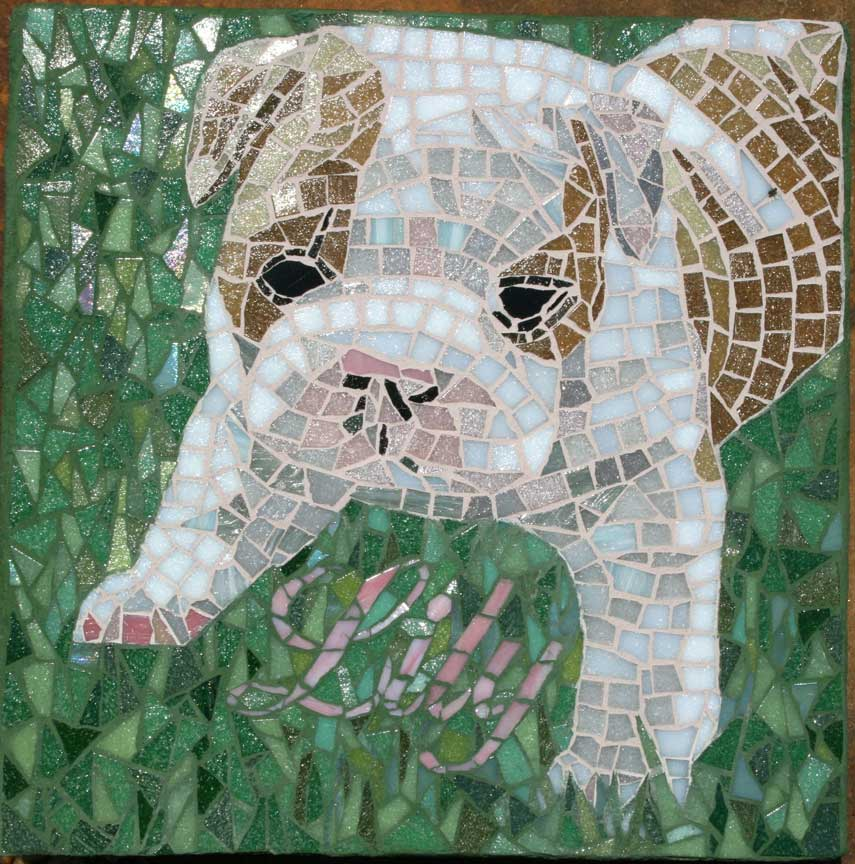 Lily Dog Stepping Stone Mosaic Artwork