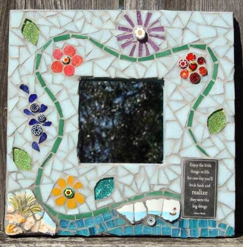 Mosaic Flower MirrorMosaic Wall Art Commission