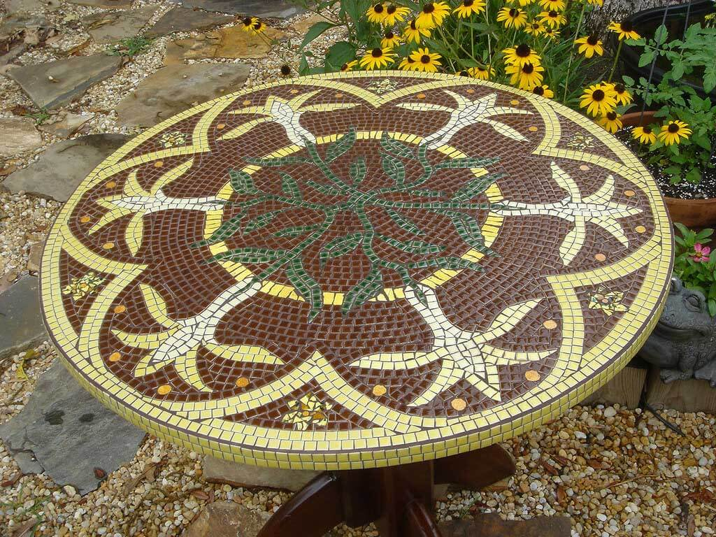 Mosaic Table in Garden Commission