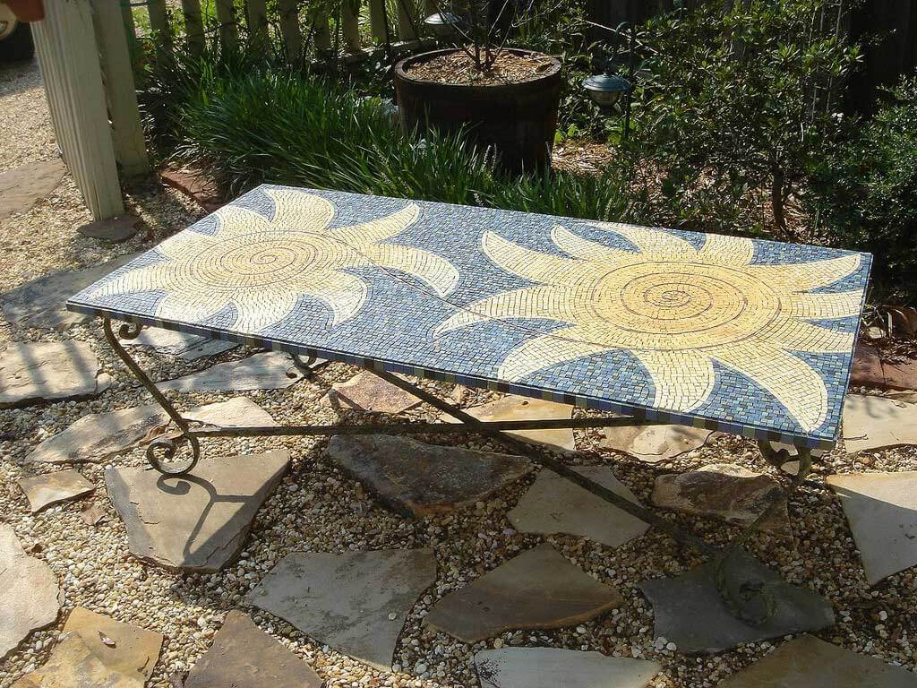 Ungrouted Sun Mosaic Table